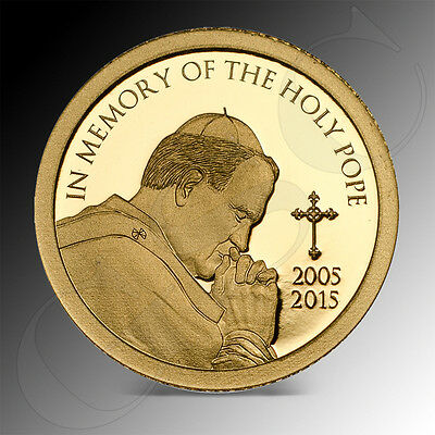 1500 Shillings Tanzania 2015 In Memory of the Holy Pope proof fine gold coin