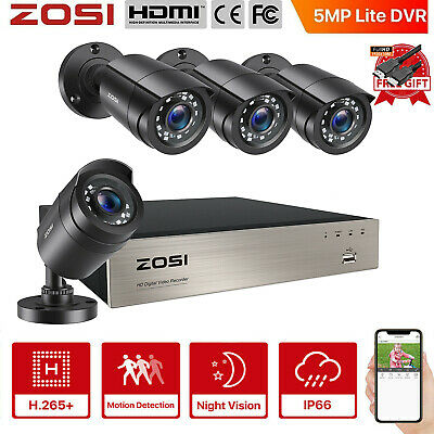 ZOSI 720P 4CH AHD DVR 1500TVL Weatherproof CCTV Home System Camera Security Kit