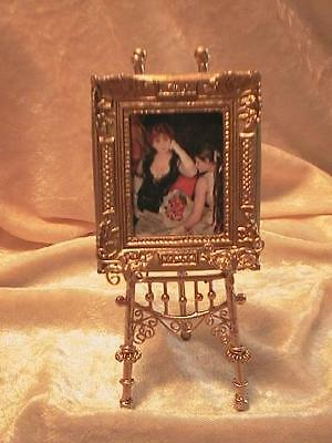 dollhouse doll house  miniature METAL GOLDEN PICTURE EASEL