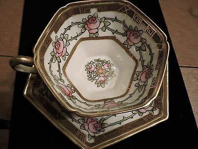 NIPPON TEA CUP AND SAUCER PAINTED ROSES AND VINES  TEACUP
