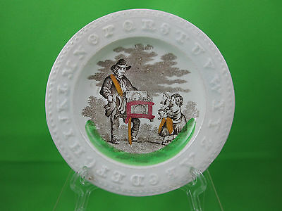 Antique Staffordshire Polychrome Transfer Childs ABC plate, Organ Grinder,Girls