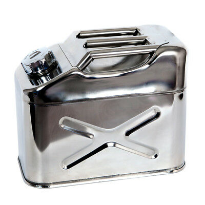 JERRY CAN STAINLESS STEEL 10 Litre - UN approved - HIGHLY POLISHED marine 4 x 4