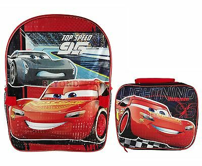 Disney Cars 3 Lightning McQueen Large Backpack with Detachable Lunch Bag Combo