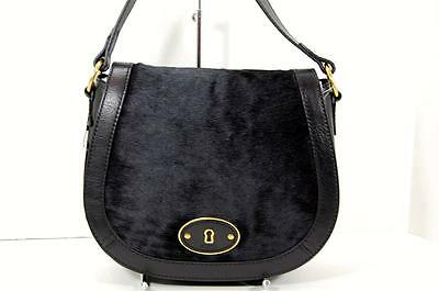 NWT Fossil Vintage Re-Issue Black Haircalf Leather Crossbody Flap Shoulder Bag