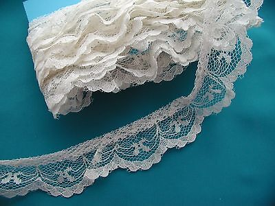 Vintage gathered lace pale ivory 3 yards 1 inch wide