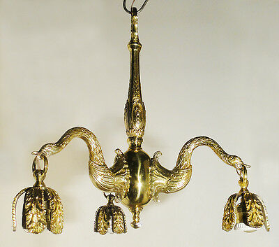 Original antique chandelier French Bronze 3 lights chiselled and polished bronze