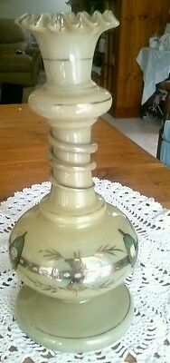 Antique Victorian Handpainted  Ruffle Edge Vase with Applied Trail