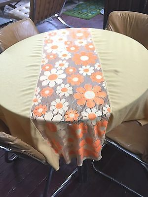 Vtg Round Tablecloth Bright Orange Yellow Lace Floral Mid Century Daisy Flower