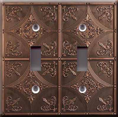 Light Switch Plate Cover - Antique cathedral ceramic faux finish - Vintage tile
