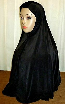 "NEW ""Long"" One Piece Hijab Amira Muslima Hejab Headscarf Plain Color - Black"