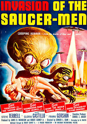 Invasion of the Saucer Men A1 Movie Poster Vintage High Quality Canvas Art Print