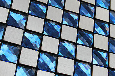 Sample-Silver Brushed Particle&Blue Crystal Mosaic Tile Self Adhesive Glue