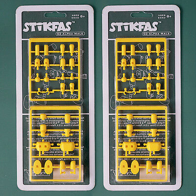 2 NEW Stikfas Twin Pack AFK26L and AFK27L G2 Alpha Male Ice Hockey Action Figure