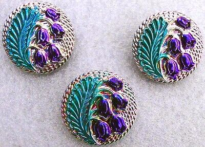 3 Czech UNIQUE Glass Iridescent Buttons #A473 - RARE LILY of the VALLEY