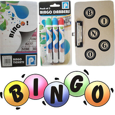 Traditional Bingo Game Set Tickets Book Thick Dabbers/ Flyers Board With Clip
