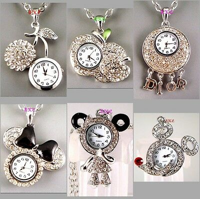 Silver Retro Ossie Pendant Necklace Ladies Watch w/ Swarovski Crystal, 6 Designs