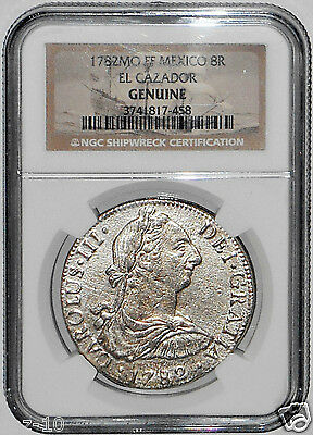 1782 MO FF 8 REALES  El Cazador Shipwreck Coin,NGC Certified,Highest Grade,Mint