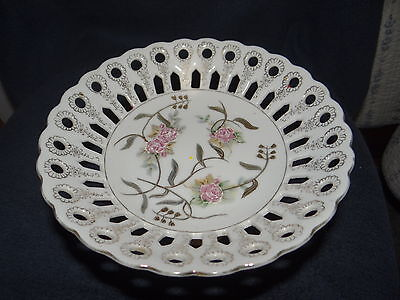 White porcelian with embossed roses & gold pedestal dish