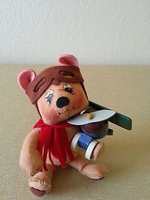 "Annalee Dolls 8"" Bearly Flying, bear holding airplane,  2000 USA"
