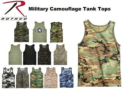 d6a4f4fa7d6a51 Camouflage   Solids Tactical Military Top Army Camo Tank Top   Muscle Shirt