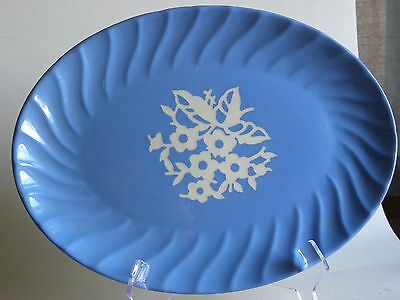 HARKER CAMEOWARE BLUE oval Platter.  13 5/8 inches across.  White floral design.