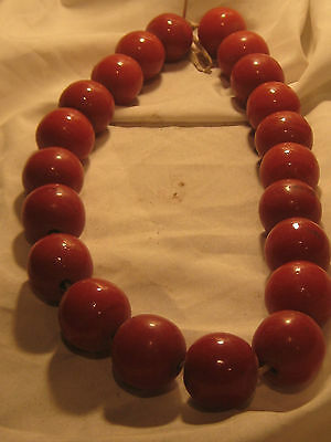 "VINTAGE RED GLASS JUMBO TRADE BEAD NECKLACE.....24"" LONG..21 BEADS"