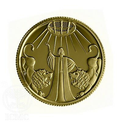 ISRAEL 2012 BIBLE STORY ART PURE GOLD PROOF COIN DANIEL IN LION'S DEN 13.92mm