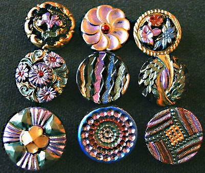 Collection of 9 Czech ANTIQUE (1920's) Glass Buttons #D686 - RARE !!!!!!!!!!!!!