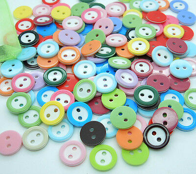 50-100Pcs Random Mixed Round 2 Holes Resin Button Fit Sewing Or Scrapbook 11mm