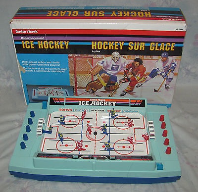 Vintage Battery Operated Tabletop Ice Hockey Game by Tandy Radio Shack 1988