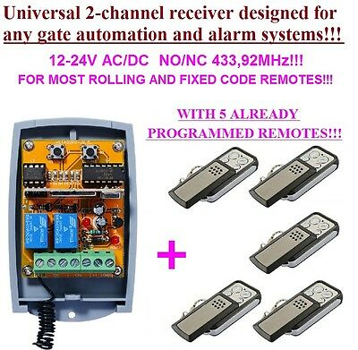 Universal 2-ch rolling & fixed code receiver 433,92MHz + 5 remotes for any gates