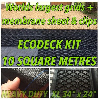 Drive Grid Kit +Membrane 10 Sq/m Permeable Eco Driveway Gravel Base Paving Grids