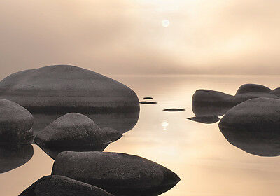 Round Rocks Ocean Peaceful 3D Full Wall Mural Photo Wallpaper Home Decal Kids
