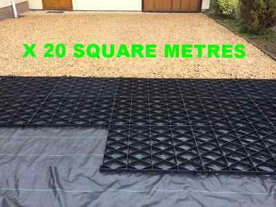 Drive Grid Kit 20 Sq/m +Sheet Permeable Driveway Plastic Gravel Base Paving Grid