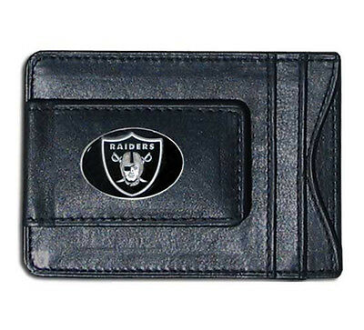 Oakland Raiders NFL Football Team Leather Card Holder Money Clip Wallet