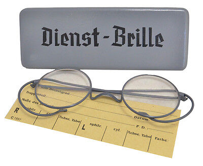 German Wire Rimmed Service Glasses DIENST BRILLE Spectacles - WW2 Repro New Grey