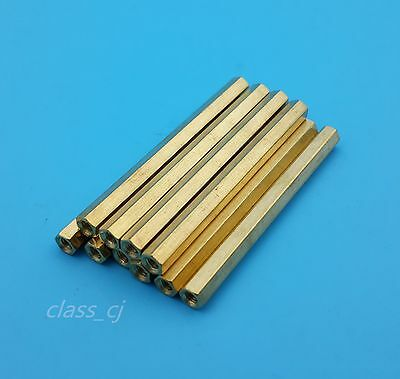 10Pcs M3*55mm Brass Nut Female Hexagon Standoff Spacer Pcb Mounting Tools