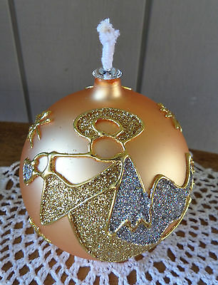 Mercury Glass Oil Lamp Gold Angel has Stained Glass Look w/ 2 wicks & Funnel
