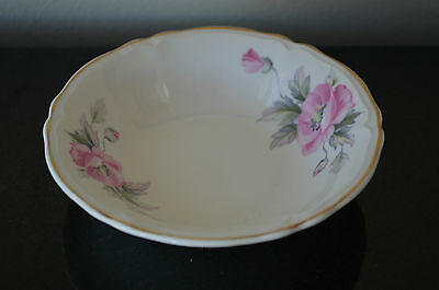 EDWIN KNOWLES USA SEMI VITREOUS VINTAGE PINK FLORAL BOWL #V