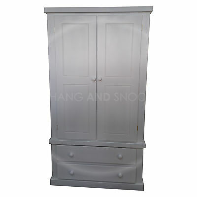 Hand Made Dewsbury Furniture Gents Wardrobe White (Assembled)