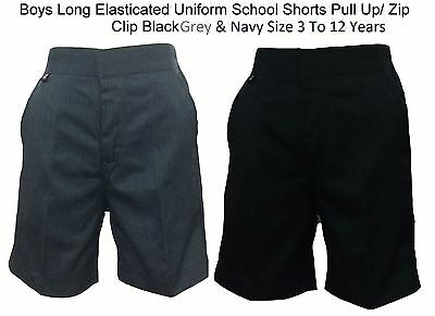 Boys Long Shorts Half Elasticated Uniform School Trouser Pull Up/ Zip Clip 3To11