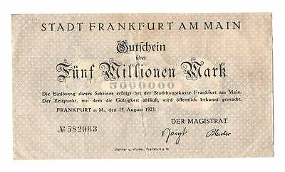 1923 Germany Weimar Republic 5.000.000 / 5 million mark banknote Frankfurt Am Ma