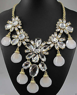 Pretty Crystal Flower Necklace Large White Glass Rhinestones Milky Lucite Drops