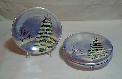 "Lot of 4 Jay Import Holiday Winter Scene Lusterware Salad Snack Plates 8"" Blue"