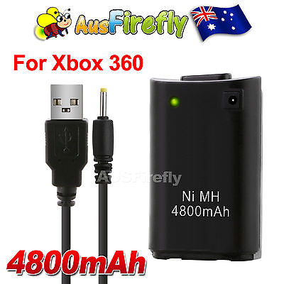 Rechargeable Battery+USB Charger Cable for XBOX 360 Slim Wireless Controller BK
