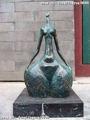 "14""Great Pure Copper Bronze & Marble abstract Art dancing girl statue"