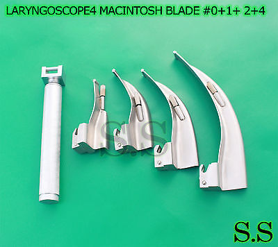 Laryngoscope Medium Handle C + 4 Macintosh Blade #0+1+ 2+4 Ent Anesthesia Set