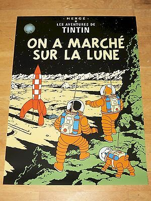 TINTIN POSTER EXTRA LARGE - ON A MARCHÉ SUR LA LUNE / ON MOON - 93 x 67 cm MINT
