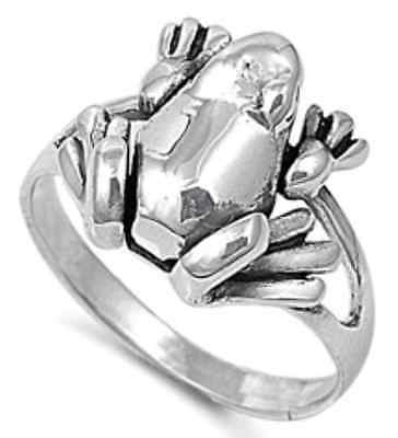 New 925 Sterling Silver Sideways Shiny Frog Lucky Woman's Band Ring Size 3-11