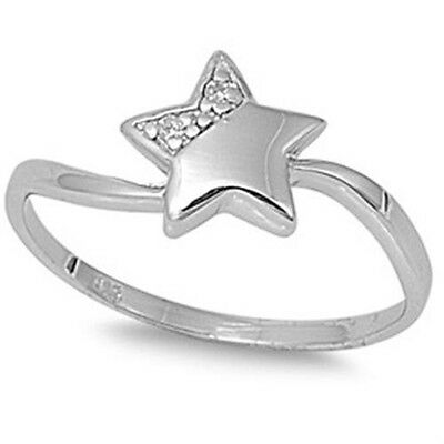 925 Sterling Silver Curved Lucky Star Sideways Shiny Clear CZ Ring Size 3-11